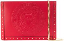 Balmain - logo embellished clutch bag - women - Leather - One Size - RED
