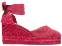 Castañer - lace-up wedge espadrilles - women - Cotton/rubber - 37, 38, 39, 40 - RED