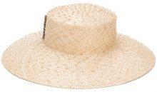 Misa Harada - logo embellished hat - women - Sisal - OS - NUDE & NEUTRALS