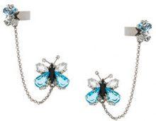 Ermanno Scervino - Orecchini con farfalla - women - Brass/glass - OS - BLUE