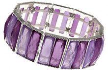 1928 Jewelry - Braccialetto elastico con pietre sfaccettate, 17 cm, colore viola con tonalità argentate