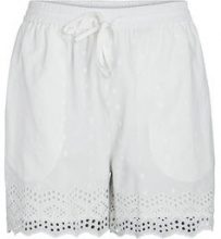 PIECES High Waist Embroider Shorts Women White