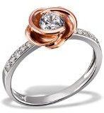 Goldmaid Fo R7373S - Anello da donna con rosa, argento sterling 925 placcato oro, con 11 zirconi bianchi taglio Swaroski