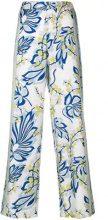 P.A.R.O.S.H. - Pantaloni con stampa a fiori - women - Silk - S, M - WHITE