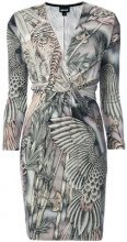 Just Cavalli - embroidered wrap dress - women - Viscose - 38, 40, 42, 44, 46 - Marrone