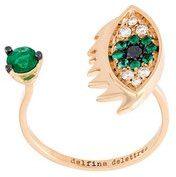 Delfina Delettrez - Anello 'Eyes on me piercing' con diamanti e zaffiri - women - Diamond/18kt Gold/Emerald/Black Diamond - 53 - METALLIC