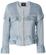 - Steffen Schraut - ruffled details denim jacket - women - Linen/Flax/Cotone - 38, 40 - Blu