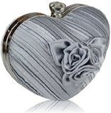 Fiore rosa a forma di cuore, colore: argento crespato da donna fashion evening clutch bag