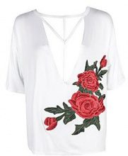 Nicole Strappy Choker Embroidered Tee