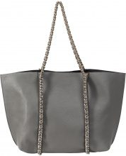 Borsa shopper con catenelle (Grigio) - bpc selection premium