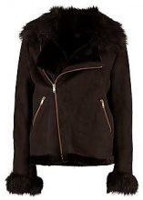 Jessica Boutique Faux Fur Collar and Cuff Aviator Jacket