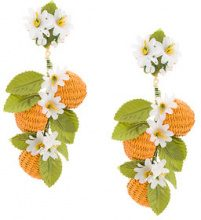 Carolina Herrera - flower and beads earrings - women - Raffia/Bronze - OS - YELLOW & ORANGE