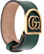 Gucci - Braccialetto 'Double G' - women - Brass/Leather - L - GREEN