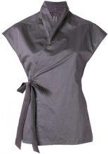 Rick Owens - wrap style blouse - women - Silk/Cotton - 40 - GREY
