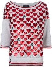 Philipp Plein - Top con motivo a cuori - women - Cotton/Polyester - S - GREY