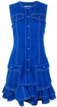 Givenchy - frill-trim fitted dress - women - Cotone/Polyester - 36, 34, 38 - Blu