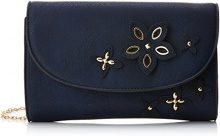 SwankySwans Lisa Smart Faux Leather - Pochette da giorno Donna, Blu (Navy Blue), 5x16x25 cm (W x H x L)