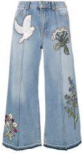 Alexander McQueen - Jeans crop ricamati - women - Cotone/Brass - 38, 40, 42 - BLUE