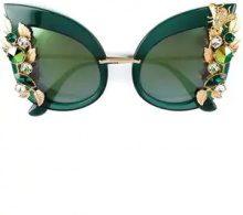 Dolce & Gabbana Eyewear - Occhiali da sole decorati - women - Acetate/Crystal/Swarovski Crystal - OS - Verde