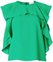 Red Valentino - Blusa con bordo increspato - women - Acetate/Viscose - 44, 48, 42, 40 - GREEN