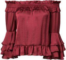 Misa Los Angeles - frilled off shoulder blouse - women - Viscose - XS, M - RED