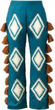 All Things Mochi - Pantaloni con nappina - women - Silk/Wool - M - Blu