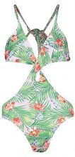 Brazil Cut Out Knot Front Tropical Swimsuit