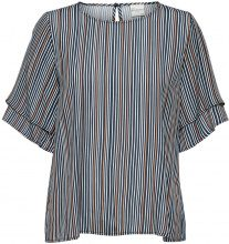 SELECTED Striped - Short Sleeved Top Women Blue