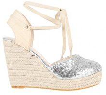 Sandali glitter con zeppa e allacciatura alla caviglia