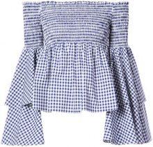 Caroline Constas - gingham frill sleeves off the shoulder top - women - Cotton - M - BLUE