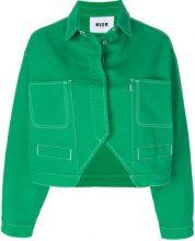 MSGM - Giacca denim cut-out - women - Cotton - 40 - GREEN