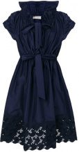 Lanvin - Vestito con orlo in pizzo - women - Cotton/Silk - 36, 38, 34, 40 - BLUE