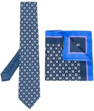 Etro - Pochette da taschino e cravatta motivo pinguini - men - Silk - One Size - Blu
