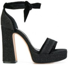 Alexandre Birman - Pumps con fiocco alla caviglia - women - Leather/Lurex/Velvet - 37, 38, 38.5, 41 - BLACK