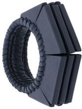 Papieta - geometric cuff bracelet - women - Leather - OS - BLACK