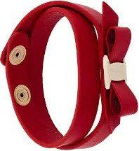 Salvatore Ferragamo - Braccialetto incrociato 'Vara' - women - Calf Leather - One Size - RED