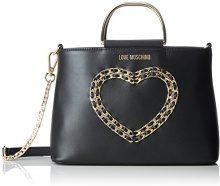 Love Moschino Borsa Vitello Bottalato Nero - Borse a spalla Donna, (Black), 10x19x26 cm (B x H T)