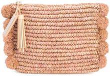 Loeffler Randall - pompom trim pouch - women - Raffia - One Size - PINK & PURPLE