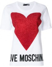 Love Moschino - heart and logo print T-shirt - women - Cotton - 42, 44 - WHITE