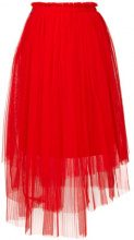 MSGM - Gonna in tulle asimmetrica - women - Polyamide/Polyester - 38 - Rosso