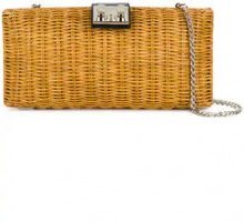 Rodo - Clutch con motivo intrecciato - women - Raffia/Leather - OS - Color carne & neutri