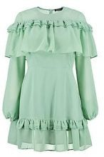 Megan Ruffle Shoulder and Hem Tea Dress