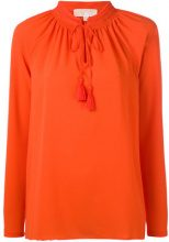 Michael Michael Kors - embroidered lace-up detail blouse - women - Polyester/Spandex/Elastane/Viscose - S - YELLOW & ORANGE