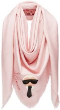Fendi - Karlito shawl - women - Silk/Goat Skin/Lamb Skin/Wool - OS - PINK & PURPLE