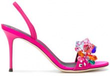 Giuseppe Zanotti Design - Blinda sandals - women - Chamois Leather/Leather/Satin - 36.5, 37, 37.5, 38.5, 39, 39.5, 40, 36, 38 - PINK & PURPLE
