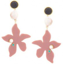 Lizzie Fortunato Jewels - Portugal Poppy earrings - women - Gold Plated Brass - One Size - PINK & PURPLE