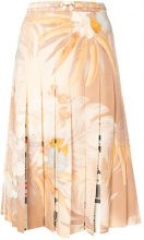 Maison Margiela - pleated A-line skirt - women - Wool/Nylon/Spandex/Elastane - 38, 40, 44 - NUDE & NEUTRALS