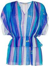 Emilio Pucci - seaside-print gathered peplum top - women - Silk - 38, 40, 42, 44, 46, 48 - BLUE