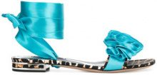 Casadei - Sandali con suola piatta - women - Leather/Satin - 36.5, 37, 37.5, 38, 38.5, 39, 39.5, 40 - BLUE