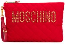Moschino - quilted logo plaque clutch - women - Polyamide - OS - RED